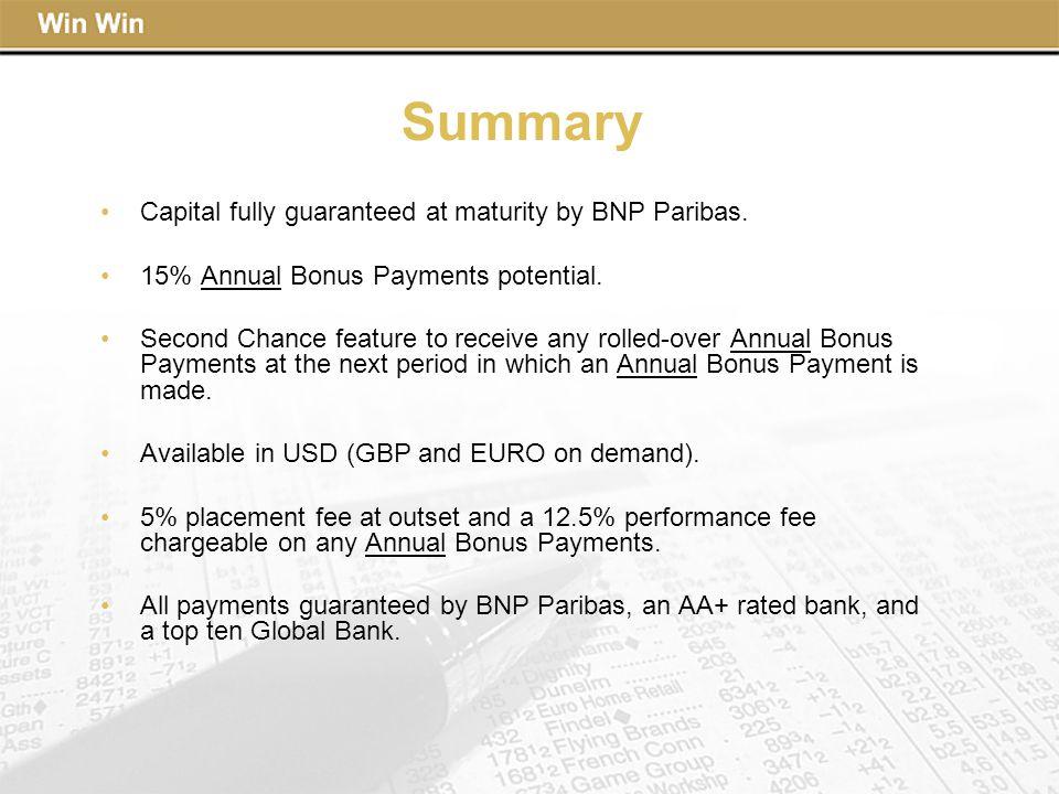 Summary Capital fully guaranteed at maturity by BNP Paribas.