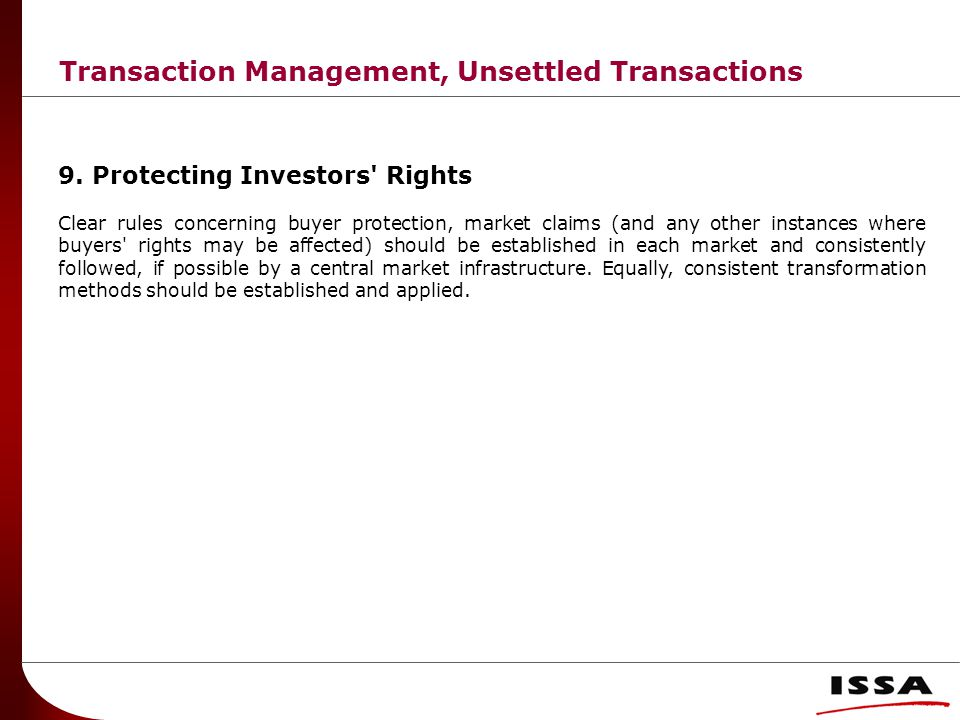 Transaction Management, Unsettled Transactions 9.