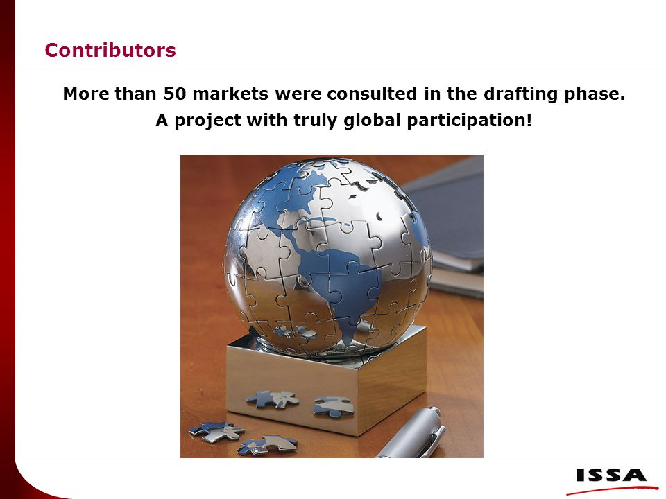 Contributors More than 50 markets were consulted in the drafting phase.