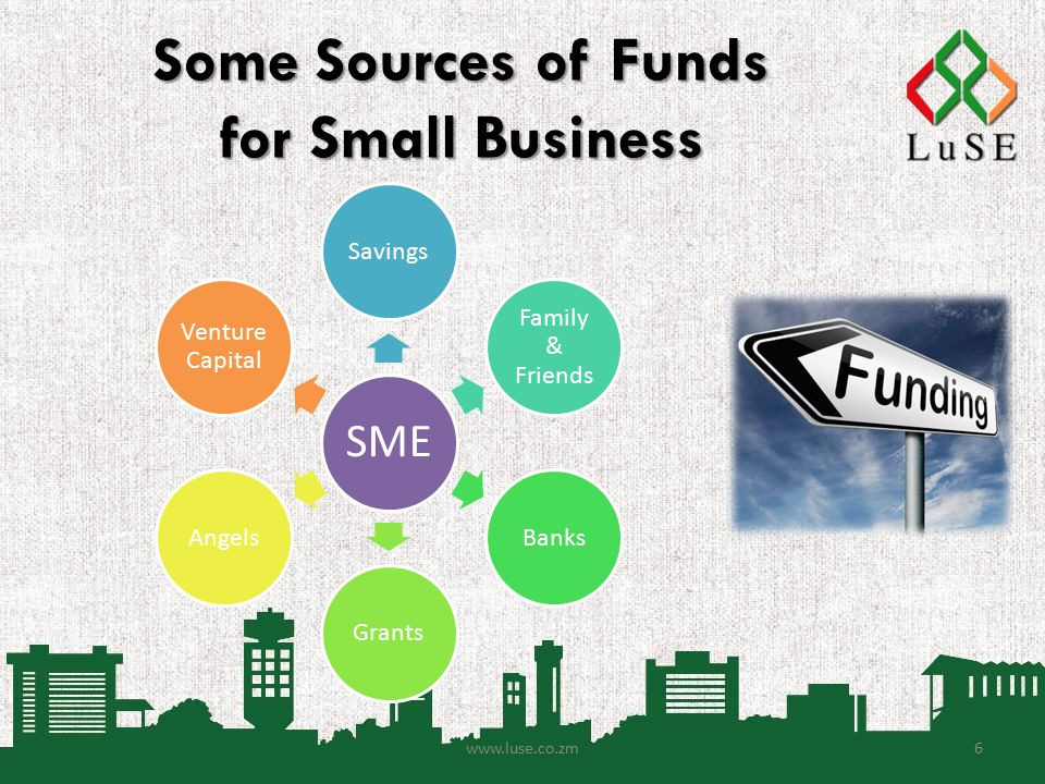 Some Sources of Funds for Small Business SME Savings Family & Friends BanksGrantsAngels Venture Capital www.luse.co.zm6