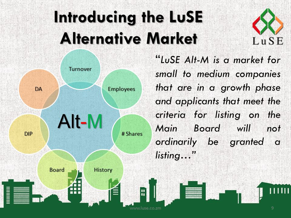 Introducing the LuSE Alternative Market LuSE Alt-M is a market for small to medium companies that are in a growth phase and applicants that meet the criteria for listing on the Main Board will not ordinarily be granted a listing… www.luse.co.zm9 Alt-M Turnover Employees # Shares HistoryBoard DIP DA