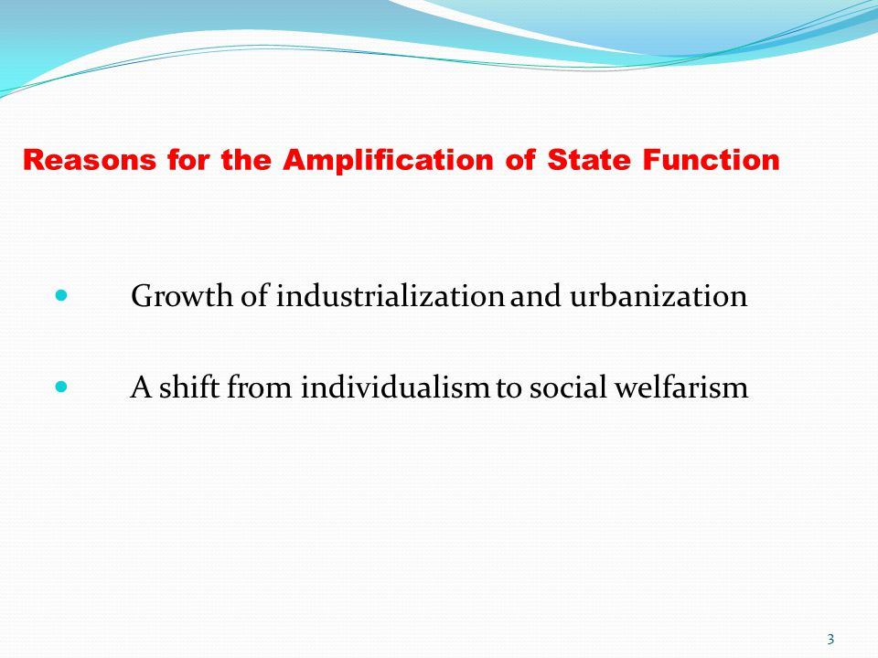 Reasons for the Amplification of State Function Growth of industrialization and urbanization A shift from individualism to social welfarism 3