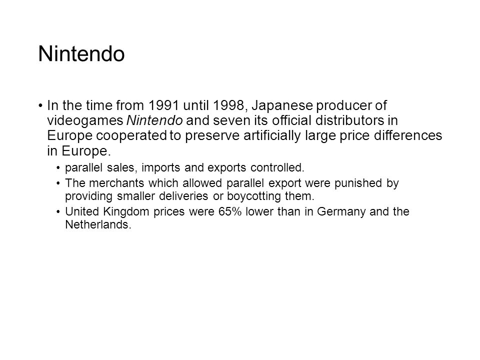 Nintendo In the time from 1991 until 1998, Japanese producer of videogames Nintendo and seven its official distributors in Europe cooperated to preser