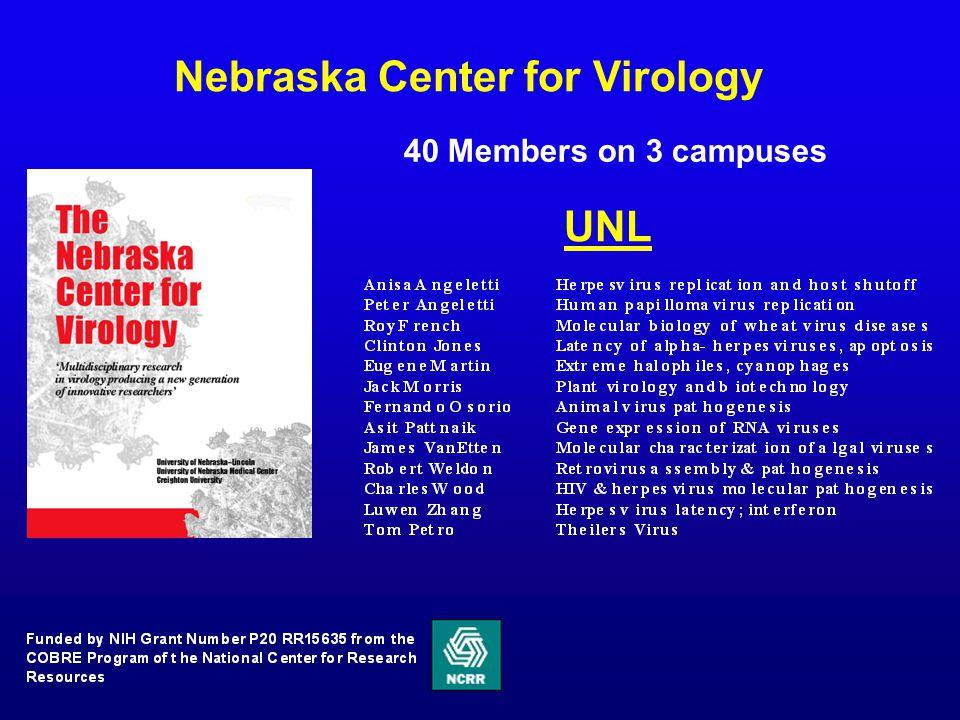 Nebraska Center for Virology 40 Members on 3 campuses UNL