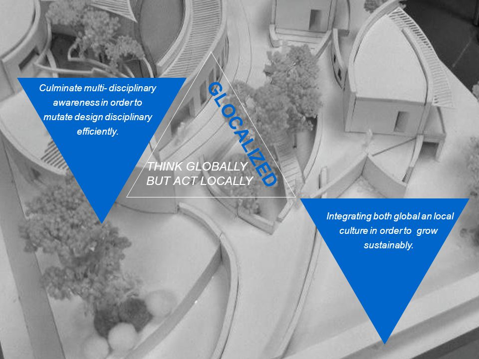 Culminate multi- disciplinary awareness in order to mutate design disciplinary efficiently. Integrating both global an local culture in order to grow