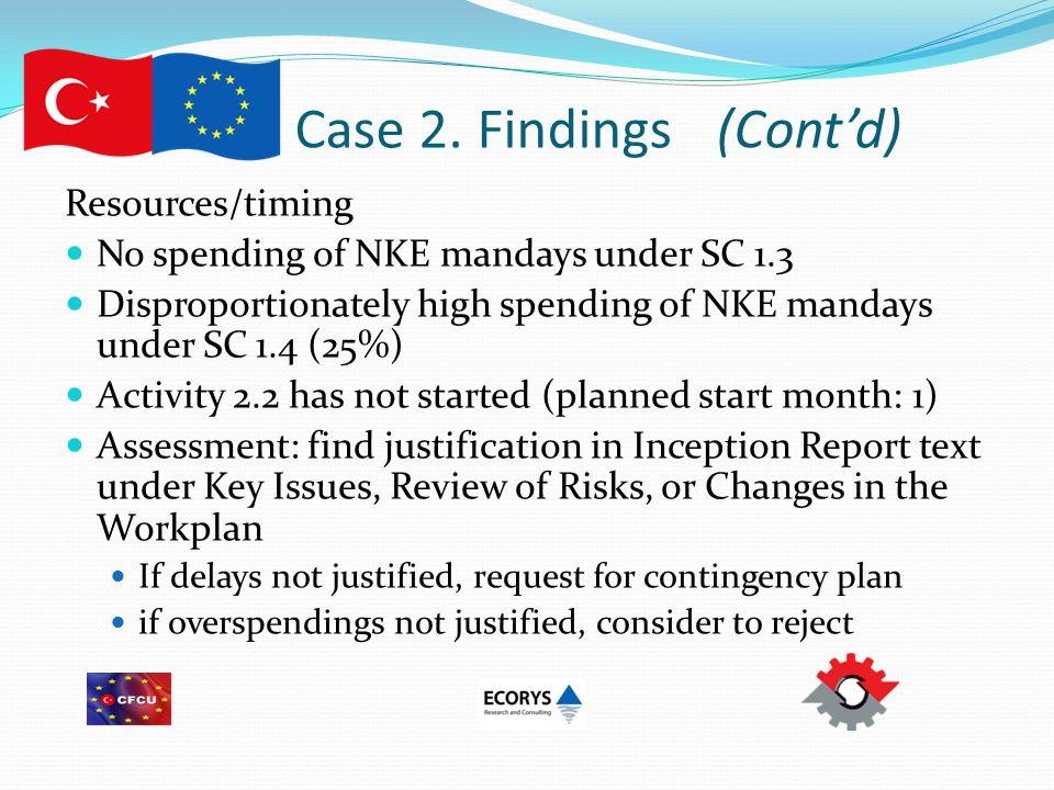 Case 2. Findings(Cont'd) Resources/timing No spending of NKE mandays under SC 1.3 Disproportionately high spending of NKE mandays under SC 1.4 (25%) A