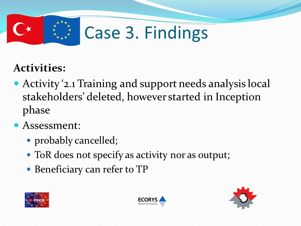 Case 3. Findings Activities: Activity '2.1 Training and support needs analysis local stakeholders' deleted, however started in Inception phase Assessm
