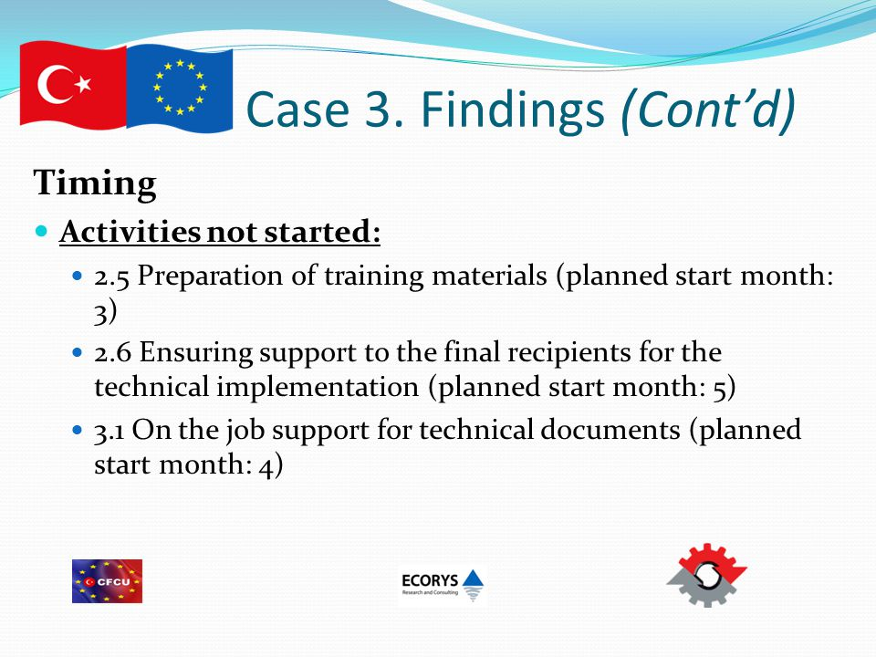 Case 3. Findings (Cont'd) Timing Activities not started: 2.5 Preparation of training materials (planned start month: 3) 2.6 Ensuring support to the fi