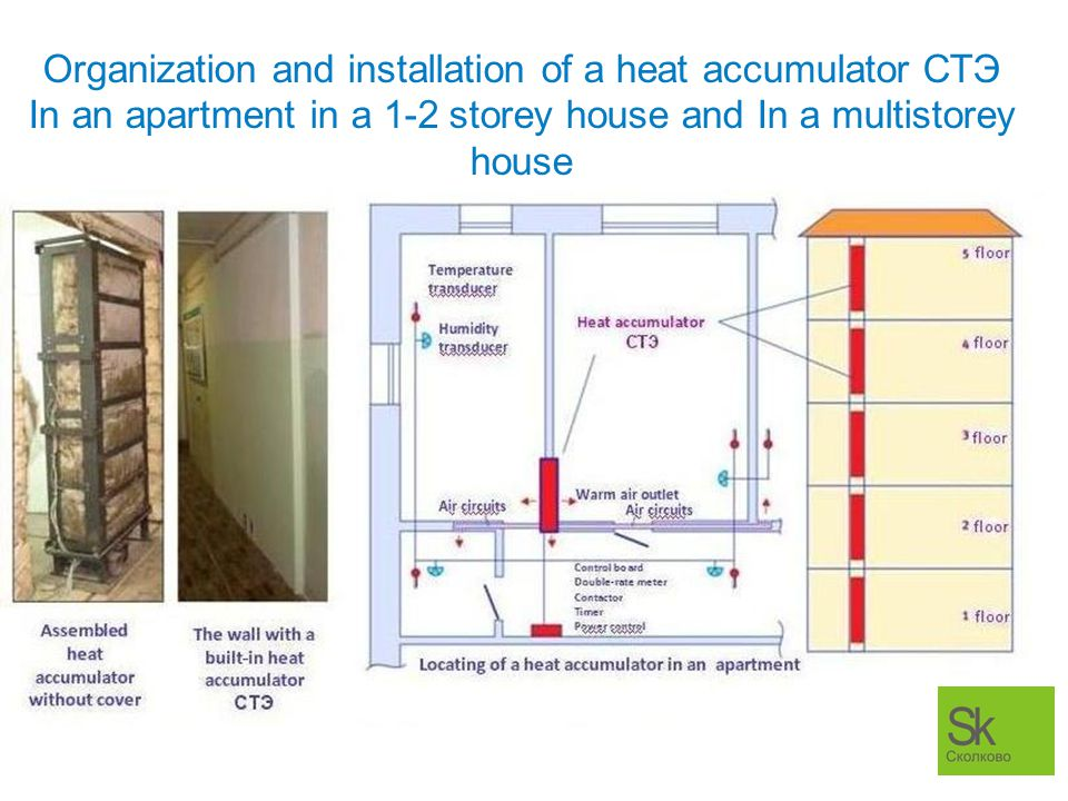 Organization and installation of a heat accumulator СТЭ In an apartment in a 1-2 storey house and In a multistorey house