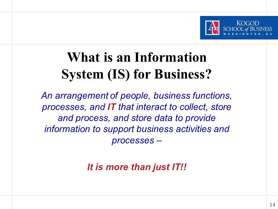 14 What is an Information System (IS) for Business.