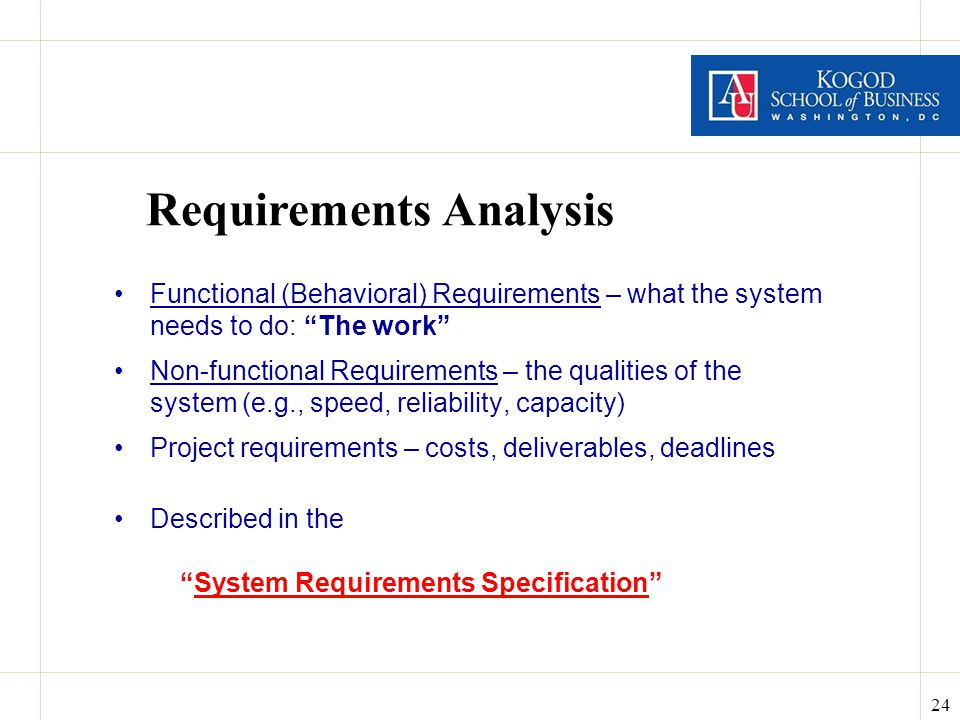 24 Requirements Analysis Functional (Behavioral) Requirements – what the system needs to do: The work Non-functional Requirements – the qualities of the system (e.g., speed, reliability, capacity) Project requirements – costs, deliverables, deadlines Described in the System Requirements Specification