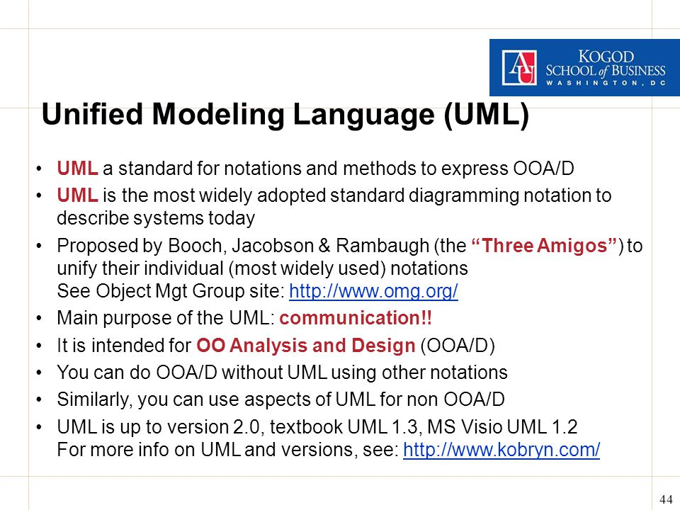 44 Unified Modeling Language (UML) UML a standard for notations and methods to express OOA/D UML is the most widely adopted standard diagramming notation to describe systems today Proposed by Booch, Jacobson & Rambaugh (the Three Amigos ) to unify their individual (most widely used) notations See Object Mgt Group site: http://www.omg.org/http://www.omg.org/ Main purpose of the UML: communication!.