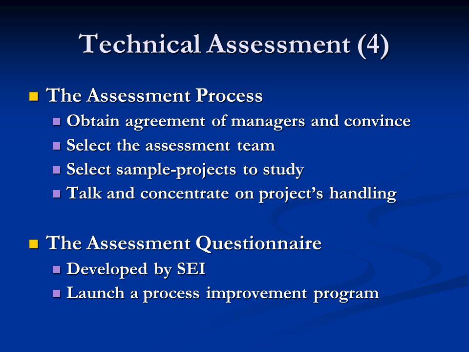 Technical Assessment (4) The Assessment Process The Assessment Process Obtain agreement of managers and convince Obtain agreement of managers and conv