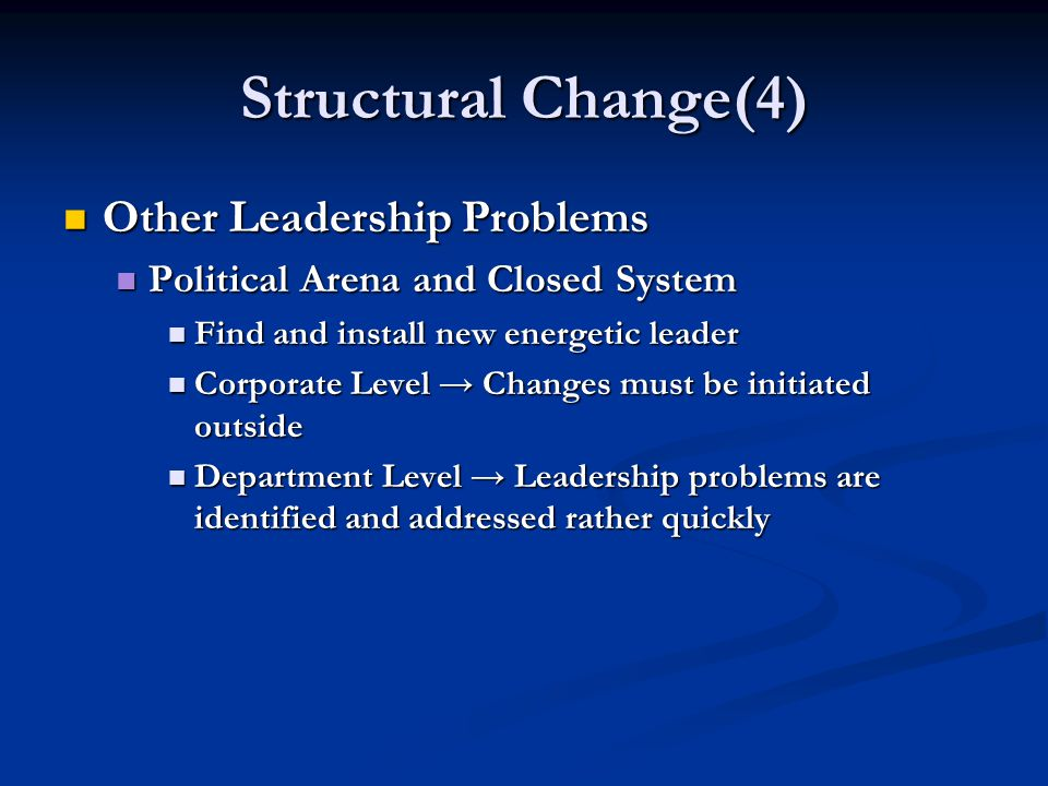 Structural Change(4) Other Leadership Problems Other Leadership Problems Political Arena and Closed System Political Arena and Closed System Find and