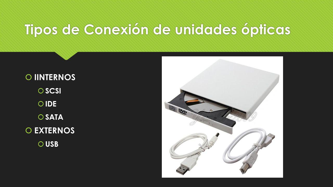 Tipos de Conexión de unidades ópticas  IINTERNOS  SCSI  IDE  SATA  EXTERNOS  USB  IINTERNOS  SCSI  IDE  SATA  EXTERNOS  USB