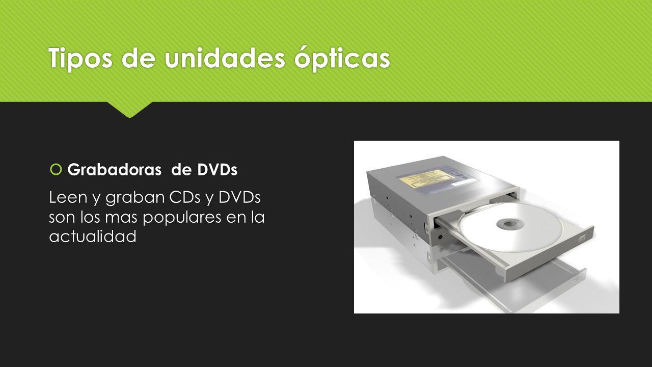 Tipos de unidades ópticas  Grabadoras de DVDs Leen y graban CDs y DVDs son los mas populares en la actualidad  Grabadoras de DVDs Leen y graban CDs