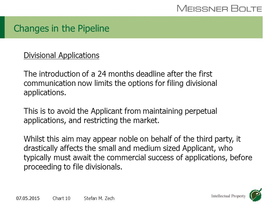 Chart 1007.05.2015 Partners of Meissner Bolte Stefan M. Zech07.05.2015 Changes in the Pipeline Divisional Applications The introduction of a 24 months