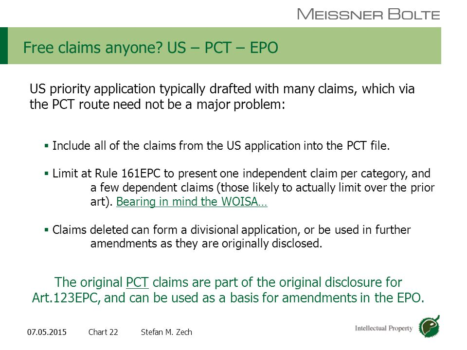 Chart 2207.05.2015 Partners of Meissner Bolte Stefan M. Zech07.05.2015 Free claims anyone? US – PCT – EPO US priority application typically drafted wi