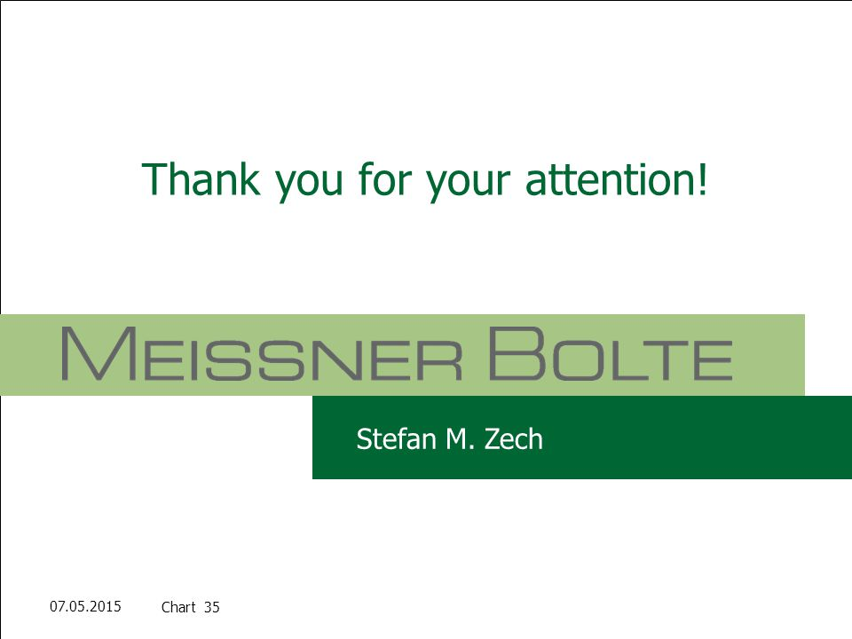 Chart 3507.05.2015 Partners of Meissner Bolte Stefan M. Zech Thank you for your attention! Stefan M. Zech Chart 35 07.05.2015