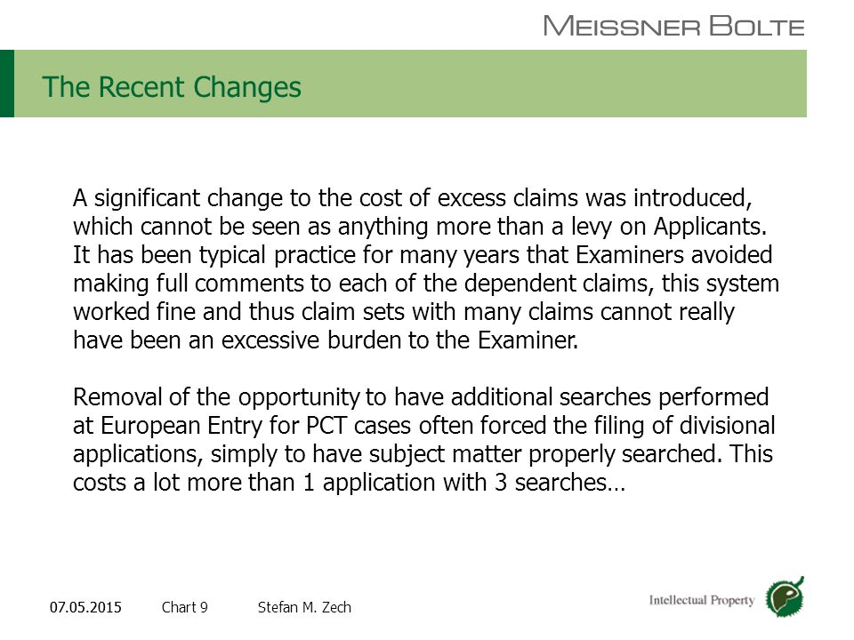 Chart 907.05.2015 Partners of Meissner Bolte Stefan M. Zech07.05.2015 The Recent Changes A significant change to the cost of excess claims was introdu