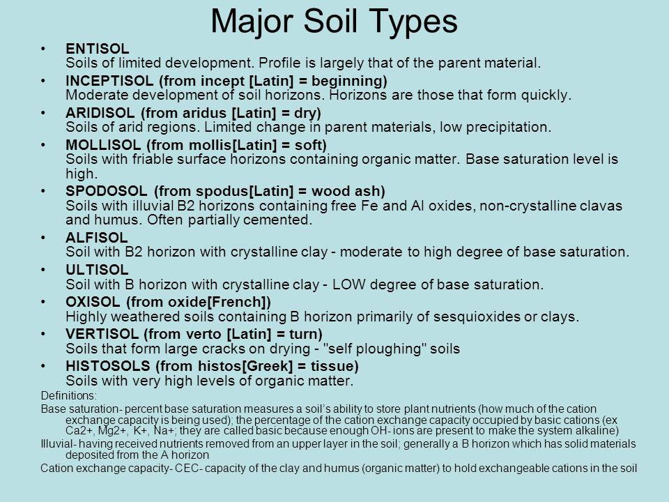 Major Soil Types ENTISOL Soils of limited development.
