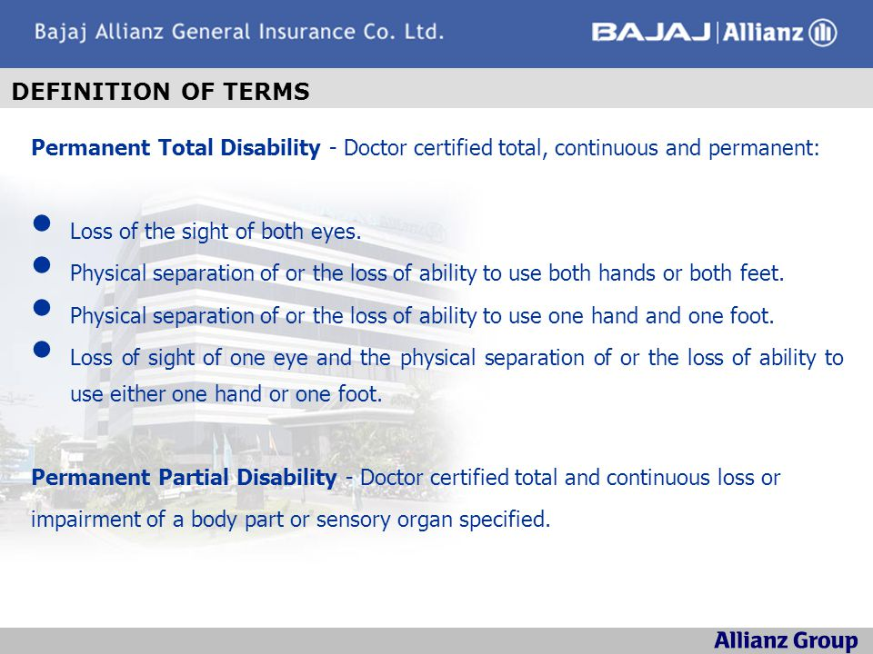 In Case ofAmount Payable Accidental Death100% of Sum Insured Permanent Total Disability100% of Sum Insured Permanent Partial DisabilityApplicable Percentage of Sum Insured Depending on Nature of Disability.