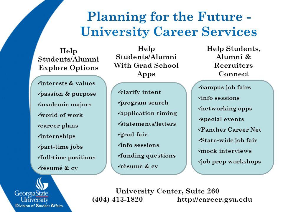 D ivision of S tudent A ffairs University Center, Suite 260 (404) 413-1820http://career.gsu.edu Help Students/Alumni Explore Options Help Students, Al