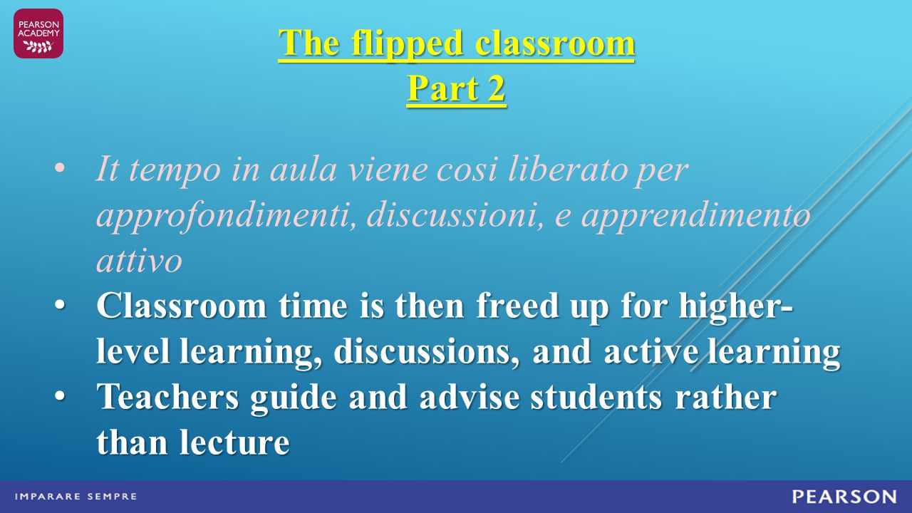 The flipped classroom Part 2 It tempo in aula viene cosi liberato per approfondimenti, discussioni, e apprendimento attivo Classroom time is then freed up for higher- level learning, discussions, and active learning Classroom time is then freed up for higher- level learning, discussions, and active learning Teachers guide and advise students rather than lecture Teachers guide and advise students rather than lecture