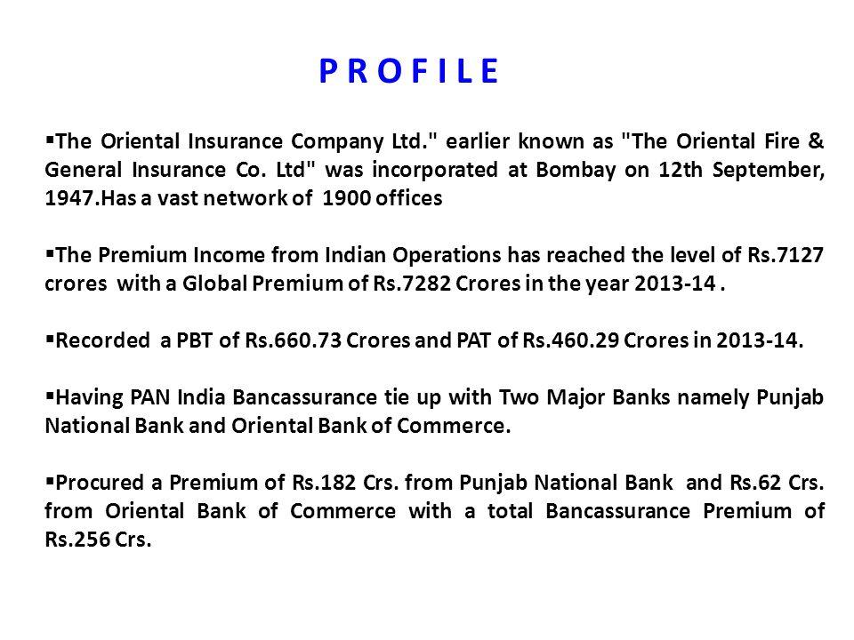  The Oriental Insurance Company Ltd.