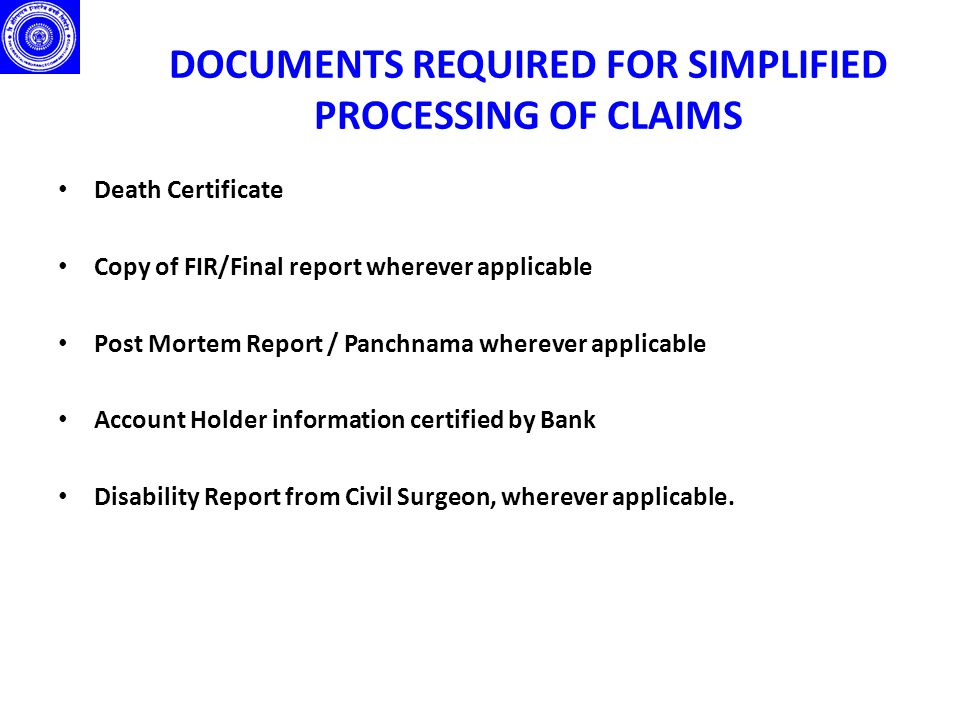 MODALITIES FOR ADMINISTRATION OF CLAIMS OPTION 1 : Claims to be handled through Banks.