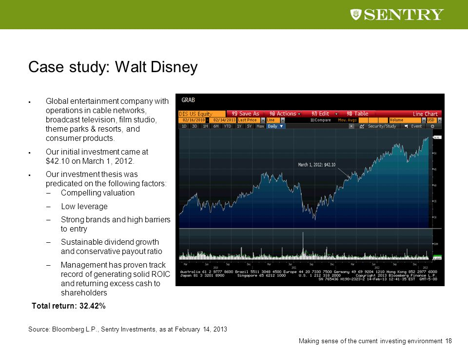 Making sense of the current investing environment 18 Case study: Walt Disney  Global entertainment company with operations in cable networks, broadca