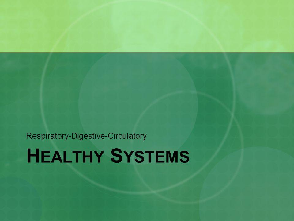 H EALTHY S YSTEMS Respiratory-Digestive-Circulatory
