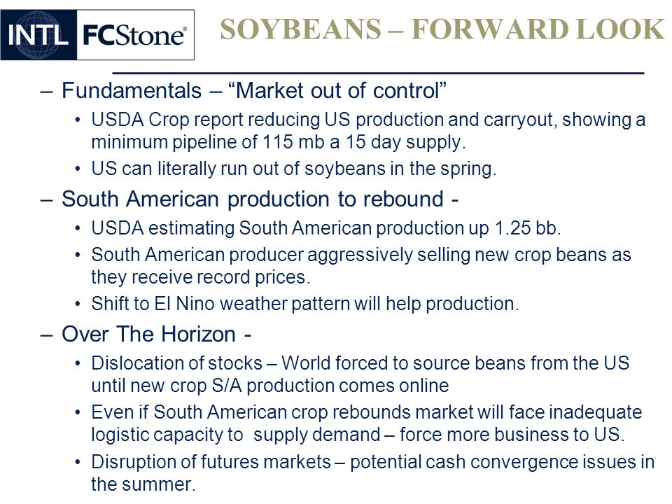 SOYBEANS – FORWARD LOOK –Fundamentals – Market out of control USDA Crop report reducing US production and carryout, showing a minimum pipeline of 115 mb a 15 day supply.