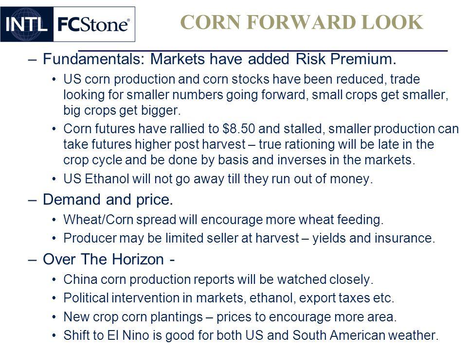 CORN FORWARD LOOK –Fundamentals: Markets have added Risk Premium.