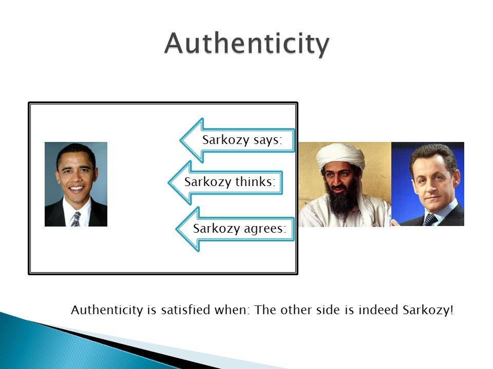 Sarkozy thinks: Sarkozy says: Sarkozy agrees: Authenticity is satisfied when: The other side is indeed Sarkozy!