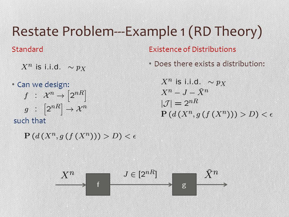 Restate Problem---Example 2 (Secrecy) Can we design: such that Does there exists a distribution: StandardExistence of Distributions fg Eve Score [Cuff 10]