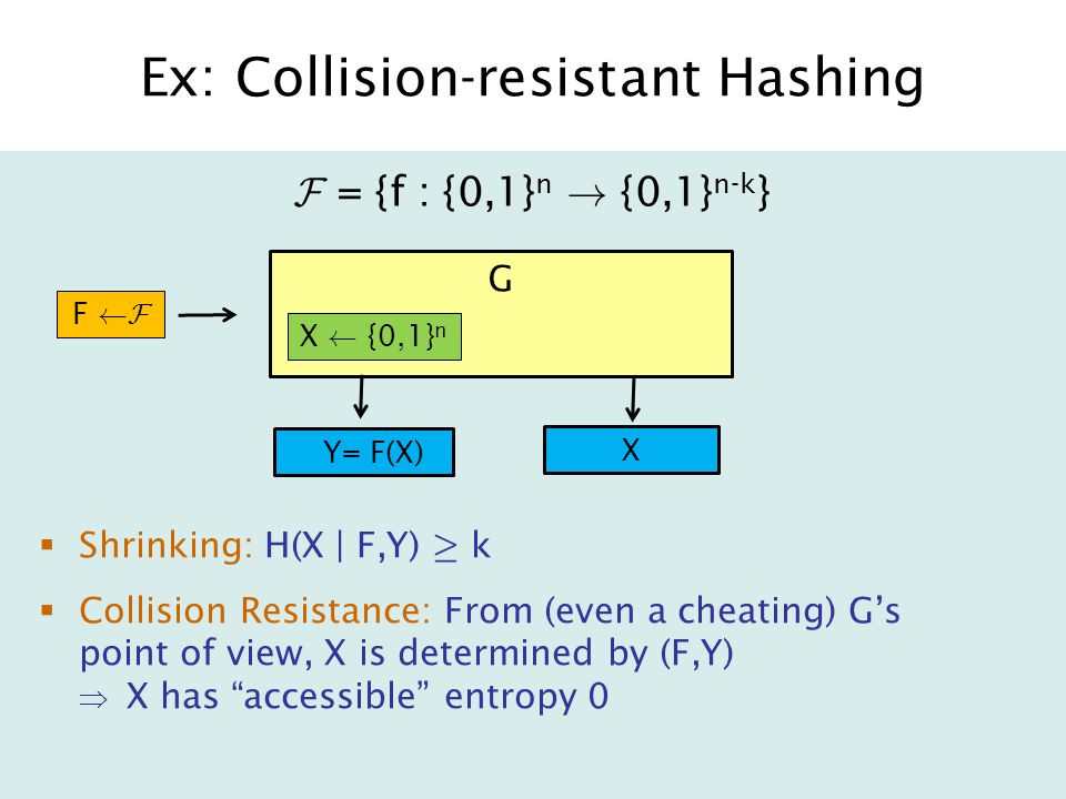Ex: Collision-resistant Hashing  Shrinking: H(X | F,Y) ¸ k  Collision Resistance: From (even a cheating) G's point of view, X is determined by (F,Y)  X has accessible entropy 0 F = {f : {0,1} n .