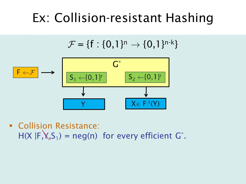 Ex: Collision-resistant Hashing  Collision Resistance: H(X |F,Y,S 1 ) = neg(n) for every efficient G *.