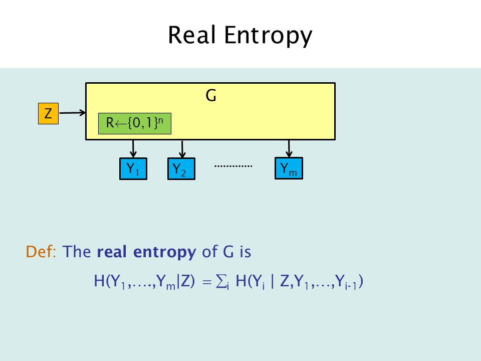 Real Entropy Def: The real entropy of G is H(Y 1,….,Y m |Z)  i H(Y i | Z,Y 1,…,Y i-1 ) G R Ã {0,1} n Y1Y1 Z Y2Y2 YmYm