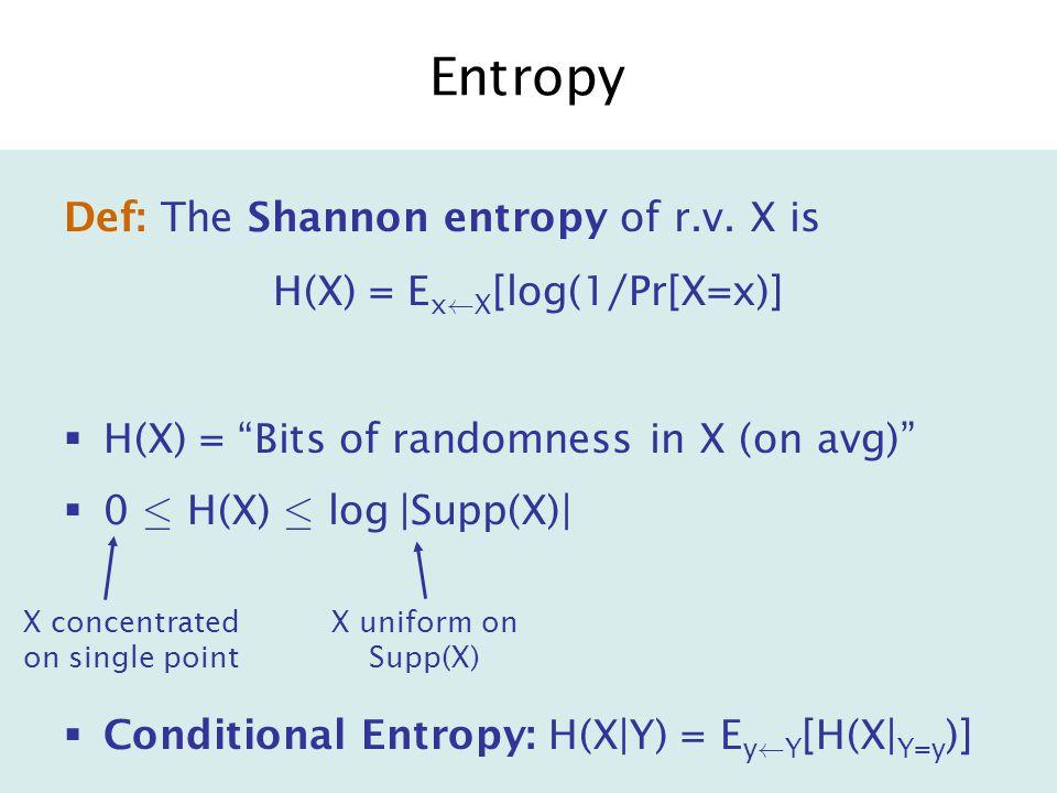 Conditional Entropy H(X|Y) = E y à Y [H(X| Y=y )]  Chain Rule: H(X,Y) = H(Y) + H(X|Y)  H(X)-H(Y) · H(X|Y) · H(X)  H(X|Y) = 0 iff 9 f X=f(Y).