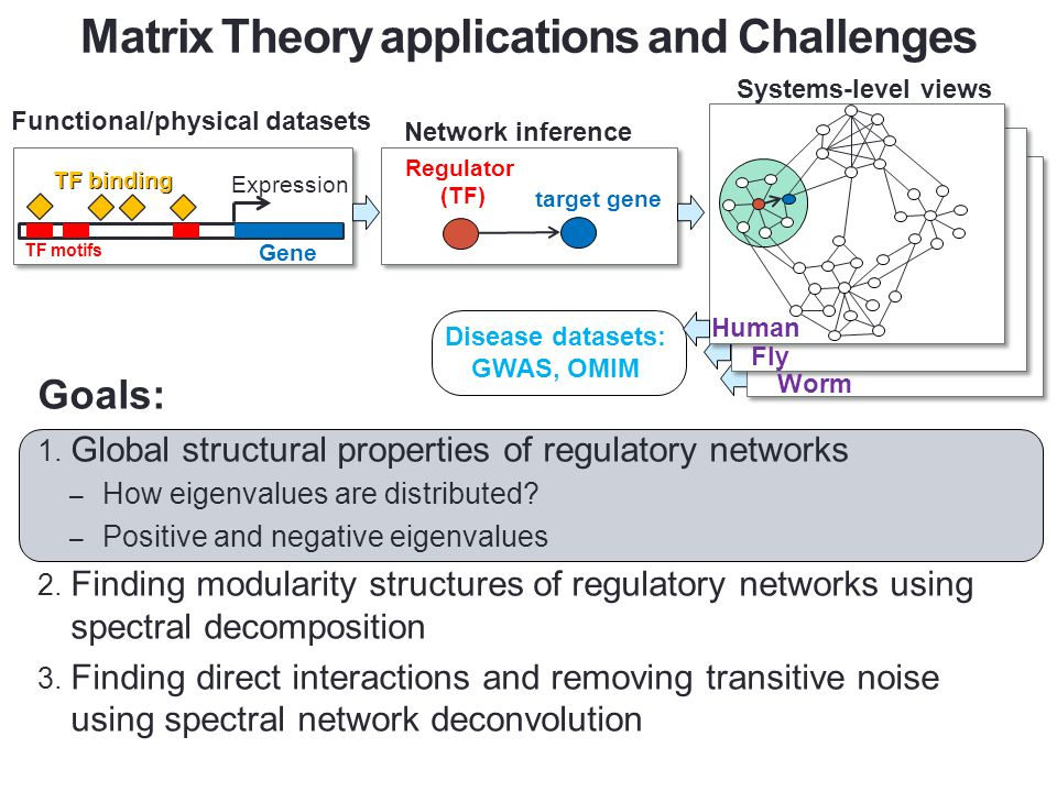 Goals: 1. Global structural properties of regulatory networks – How eigenvalues are distributed? – Positive and negative eigenvalues 2. Finding modula