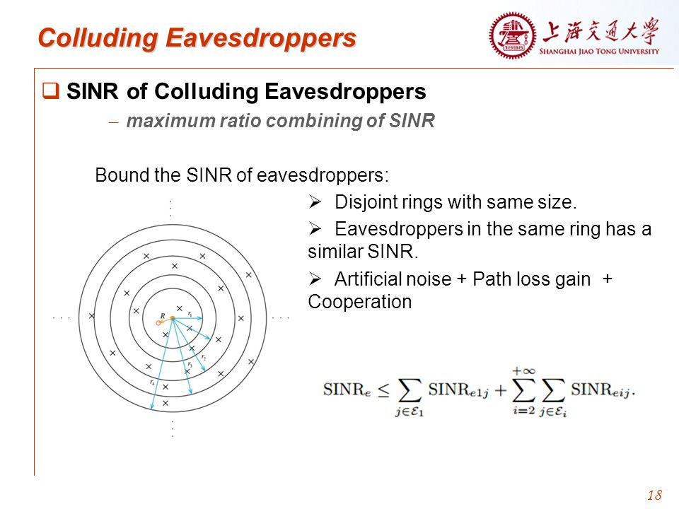  SINR of Colluding Eavesdroppers – maximum ratio combining of SINR Bound the SINR of eavesdroppers:   Disjoint rings with same size.