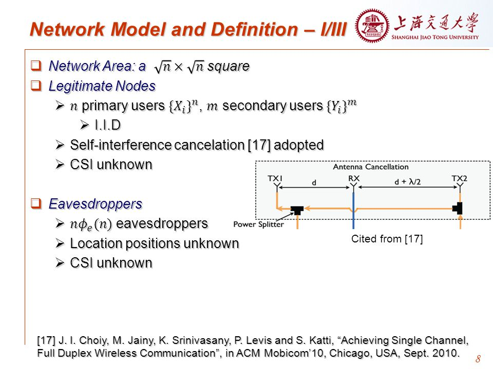9 Network Model and Definition – II/III  Random permutation traffic, no cross network traffic  Communication Model  Physical Model: Primary user i transmits to primary user j  Define the physical model for secondary users and eavesdroppers similarly.