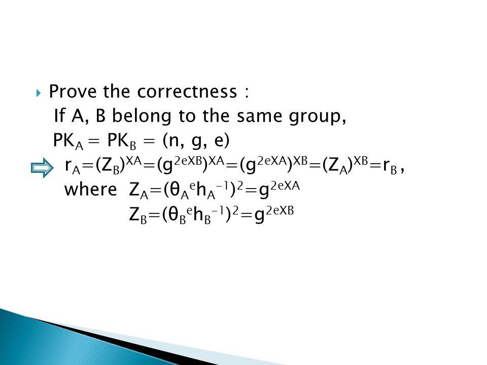  Prove the correctness : If A, B belong to the same group, PK A = PK B = (n, g, e) r A =(Z B ) XA =(g 2eXB ) XA =(g 2eXA ) XB =(Z A ) XB =r B, where Z A =(θ A e h A -1 ) 2 =g 2eXA Z B =(θ B e h B -1 ) 2 =g 2eXB