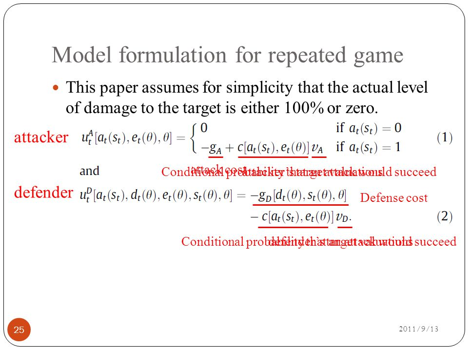 Model formulation for repeated game 2011/9/13 25 This paper assumes for simplicity that the actual level of damage to the target is either 100% or zero.