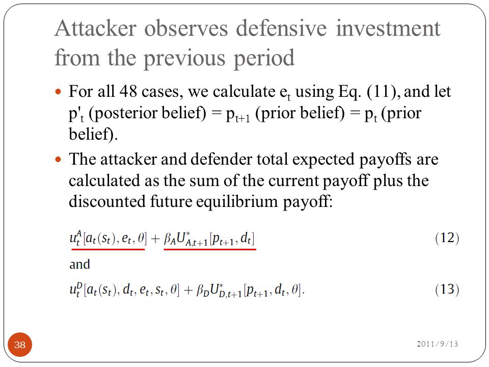 Attacker observes defensive investment from the previous period 2011/9/13 38 For all 48 cases, we calculate e t using Eq.