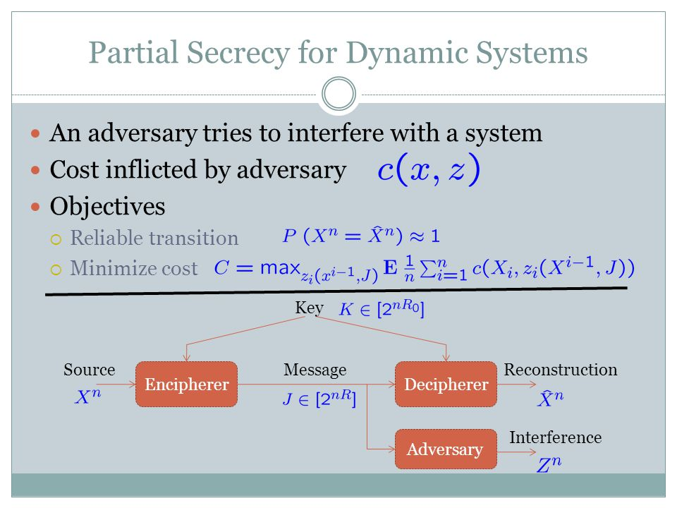 Partial Secrecy for Dynamic Systems An adversary tries to interfere with a system Cost inflicted by adversary Objectives  Reliable transition  Minimize cost EnciphererDecipherer Message Key SourceReconstruction Adversary Interference