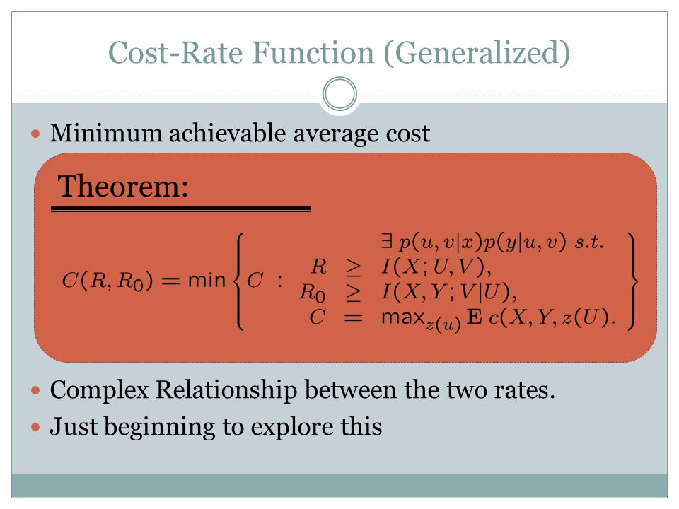 Cost-Rate Function (Generalized) Minimum achievable average cost Complex Relationship between the two rates.