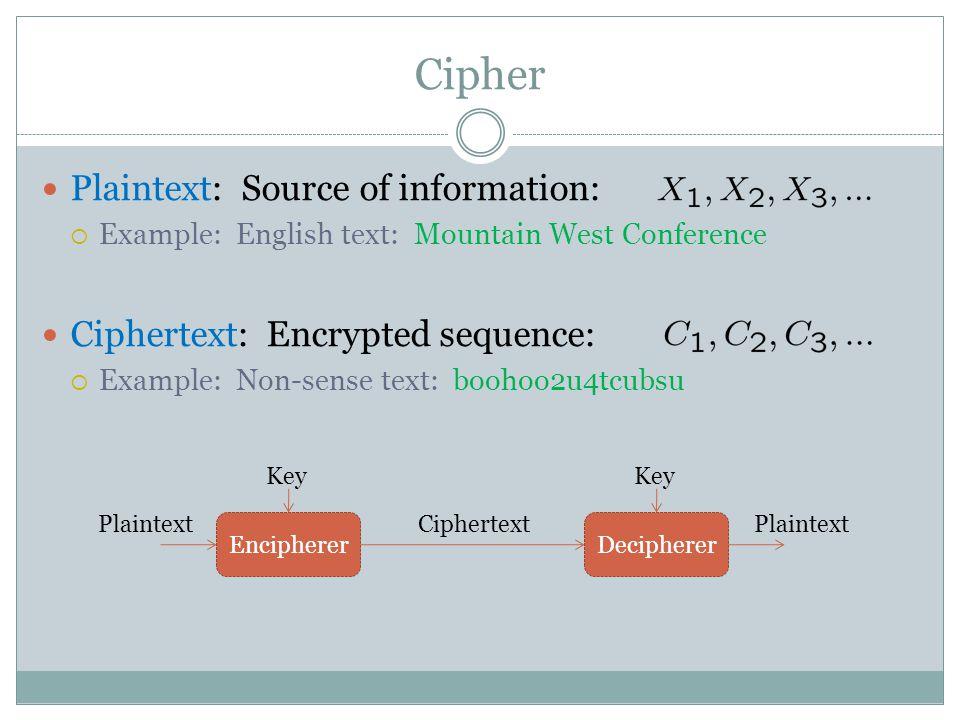 Cipher Plaintext: Source of information:  Example: English text: Mountain West Conference Ciphertext: Encrypted sequence:  Example: Non-sense text: boohoo2u4tcubsu EnciphererDecipherer Ciphertext Key Plaintext