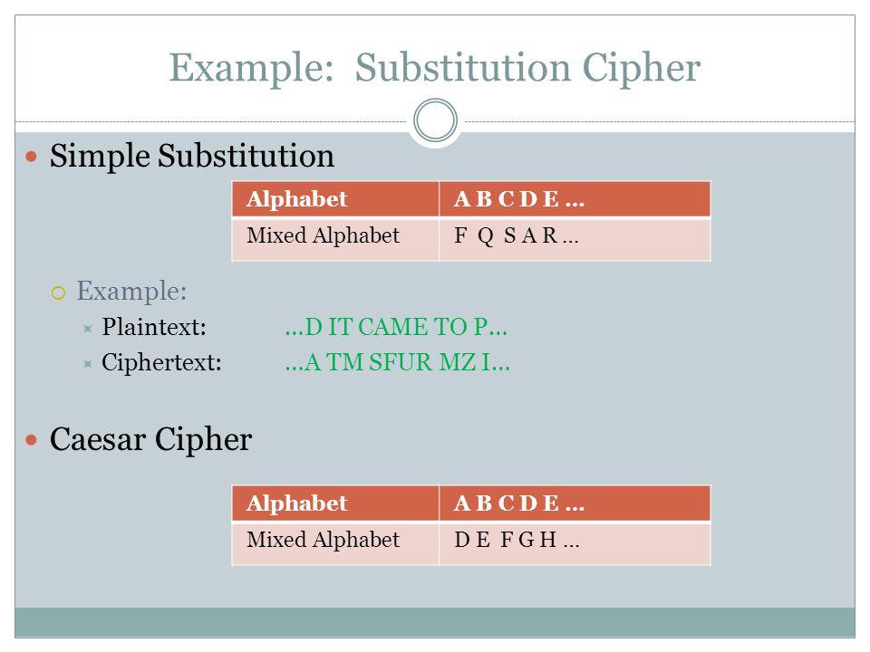 Example: Substitution Cipher AlphabetA B C D E … Mixed AlphabetF Q S A R … Simple Substitution  Example:  Plaintext: …D IT CAME TO P…  Ciphertext:…A TM SFUR MZ I… Caesar Cipher AlphabetA B C D E … Mixed AlphabetD E F G H …